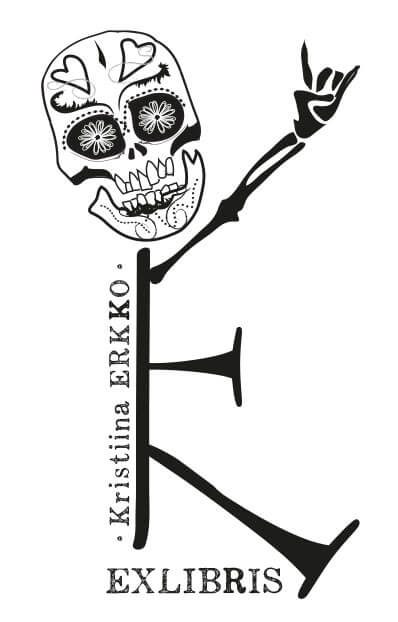 Exlibris on tehty nimen alkukirjaimista KE, koristeltu pääkallo