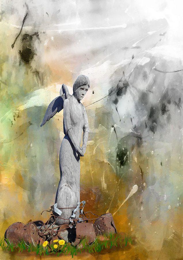 Kuvassa on taiteilija Heleniuksen puuveistos lisätty abstraktiin taustaan
