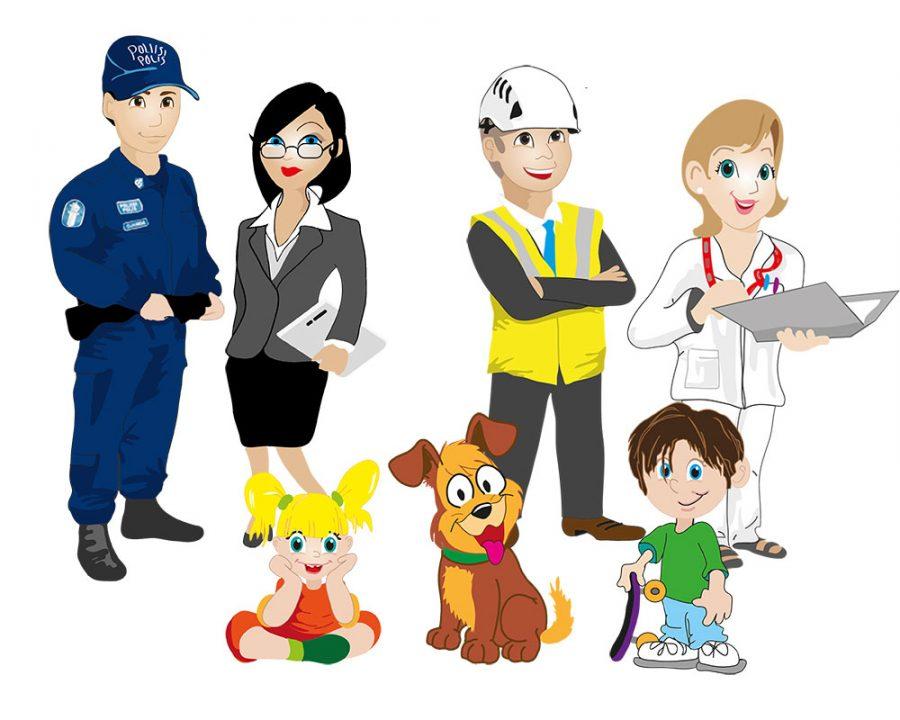 STTK:lle ammatteja kuvaavat hahmot